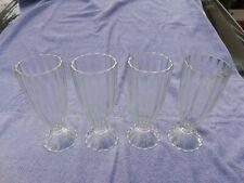 Vintage Old Fashion Fluted Soda Fountain Ice Cream Soda, Sundae Glasses set of 4