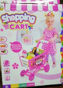 56pcs Kids Childrens Shopping Trolley Cart Role Play Set Toy Plastic Fruit Food