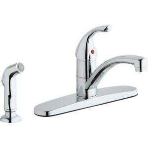 Elkay Everyday Three Hole Deck Mount Kitchen Faucet with Lever Handle and Sid...