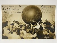 Antique VTG 1909 University Of Illinois Field Push Ball RPPC Real Photo Postcard