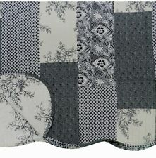 French Country Toile Throw Quilt Rug Blanket Charcoal Black White Patchwork