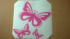 cute 3 butterflys girls pink vinyl car bonnet side sticker graphic laptop wall