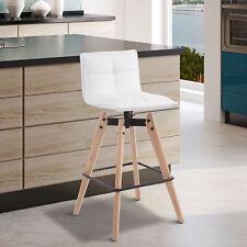 HOMCOM Eiffel Style Dining Chair Kitchen Bar Stool PU Wooden White