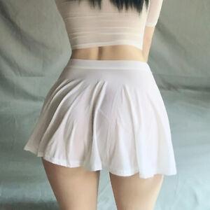 Women's See Through Sheer Pleated Transparent A-Line Mini Skirt Sexy Short Dress