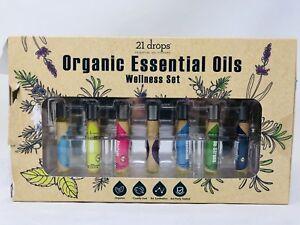 21 Drops Organic Essential Oils Wellness Set 7 Blends Each 8ml / .27 fl. oz