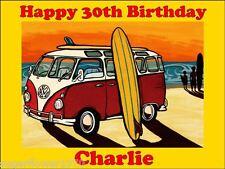 Personalised VW Camper Van Surfing Edible icing Birthday Cake Topper A4