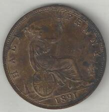 GREAT BRITAIN, 1891,  1/2 PENNY, BRONZE,  KM#754, EXTRA FINE-ALMOST UNCIRCULATED