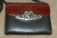 Brighton Classic~*Hearts*~ Two Tone Leather Crossbody/Wallet W/Strap