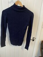 Ladies Boden Navy Wool Blend Roll neck Jumper Top Size Medium 10 12 14
