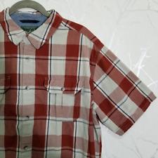 Woolrich Men's Red Plaid Checks Short Sleeve Button Up Shirt | Size XL
