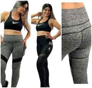 Pocket Yoga Leggings Running Gym Sports Pants Tummy Control High Waist Ladies