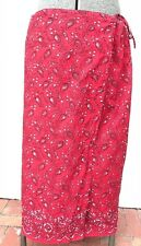 Charter Club women USA 20+ plus size long cotton wrap skirt red floral paisley