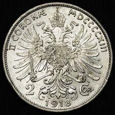 AUSTRIA 2 Corona 1913, Silver, Franz Joseph, KM 2821