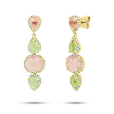14K Yellow Gold Pink Gemstone Rose Quartz Green Amethyst And Diamond Earrings