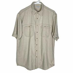 L.L. Bean Button Shirt Men's Medium Tall Beige Khaki 100% Cotton Made in USA VTG
