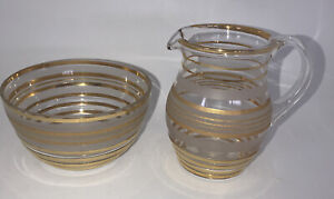 Vintage Glass Open Sugar Bowl 5cm X 10cm And Milk Creamer 9cm High All With Gold