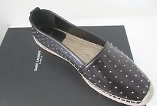 $749 Yves Saint Laurent Leather Studded Espadrilles size 9.5