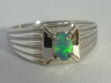 Stunning Men's Art Deco Style Black Opal & 9k White Gold Ring Size U