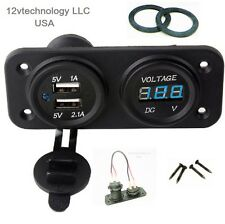 Dual USB 3.1 Amp Charger and Voltmeter Panel Mount Marine 12 V Motorcycle Outlet