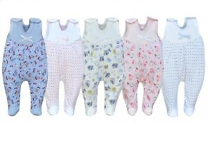 100% Cotton boys girls trousers with feet baby sleepsuits crawlers babygrows NEW