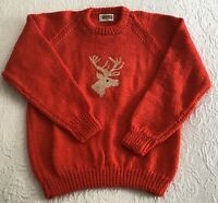 Custom Handknit Women's Red Wool Sweater with Reindeer Head on Front ~ Size: S