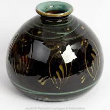 HAK Herman A Kahler Danmark Danish Art Pottery VASE Bird Motif Black Green 6820