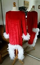 Drag Queen/Hen Party Santa long Dress, red stretch velour white feather trim,