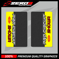 SHOWA UPPER FORK DECALS MOTOCROSS GRAPHICS MX PROCIRCUIT CARBON YELLOW RED