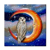 Large Ceramic Tile 6x6 Bird 69 Owl Moon fantasy art painting by L.Dumas