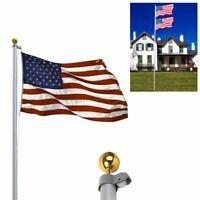 20/25FT Flag Pole Kit Telescopic Aluminum Flagpole US Flag Ball Fly 2 Flags