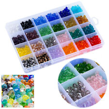 1200pcs Rainbow Clear Shimmer Crystals Spacer Beads DIY Craft For Gift&Decor 6mm