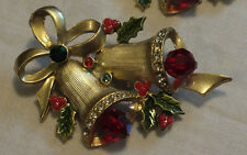 Holiday Christmas Brooch Pin Gold Tone Bells Textured Enamel Rhinestones Wow