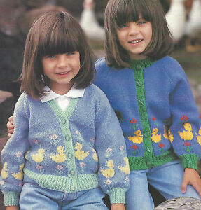"Girls Knitting Pattern DK 20-26""  Duck Motif Cardigan 412 Double Knitting"