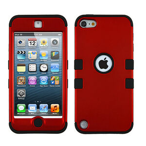 iPod Touch 5th 6th 7th Gen - Red Black Impact Armor Hard&Soft Rubber Hybrid Case