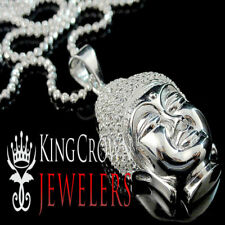 New Men's Ladies Real Genuine Sterling Silver White Gold Finish Buddha Necklace