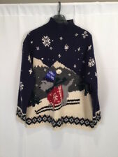 RARE Lauren Ralph Lauren HAND KNIT Wool Vintage Sweater Ski Bear Skiier Large
