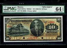 "Mexico RARE $10 Pesos""SPECIMEN""El Banco Mercantil De Monterey 1906-1911 PMG 64"