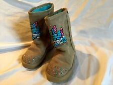 SKECHERS Youth Girl's Boots Tan Butterfly, Rhinestones Bling & Blue Fur Size 11