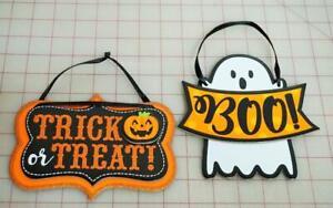"""Halloween """"TRICK OR TREAT""""  Pumpkin Glitter & Ghost Hanging Door Or Wall Decor"""