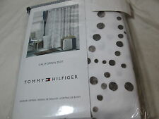 New Tommy Hilfiger CALIFORNIA DOT Cotton Shower Curtain 72x72 Lite Black/Gray