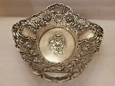 ANTIQUE BOWL WITH FLOWERS DECORATION 800 SILVER 194 gr
