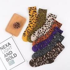Women Vintage Leopard Print Crew Socks Novelty Funny Cotton Mid Tube Hosiery