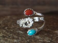 Native American Jewelry Sterling Silver Coral & Turquoise Adjustable Ring!
