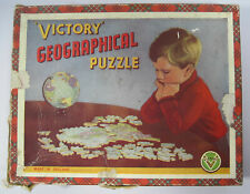 Vintage Victory Double Sided Geographical Puzzle England/Wales & Planes 1950's