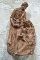 "Nativity Ceramic One Piece Set Baby Jesus Mary Joseph 7.5"" Tall Brown Wood Color"