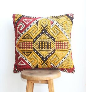 Handmade Kilim PILLOW CUSHION COVER - Anatolian Tribal Decorative Pillow 18""