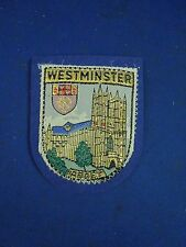 Vintage Westminster Abbey England UK Metallic Embroidered Blue Felt Patch