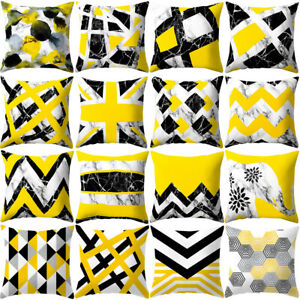 "18"" Fashion Geometric Cushion Cover Polyester Yellow Home Decor Sofa Pillow Case"