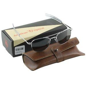 AO American Optical Military Aviator Silver Frames 52 mm Sunglasses Gray Lens