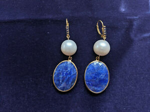 Genuine and Natural Blue Celtic LAPIS LAZULI Oval Dangle  Earrings in 925 Sterling Silver with Leverback  Lever Back closing